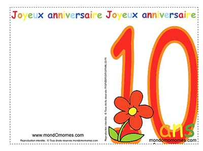 carte d invitation anniversaire 10 ans. Black Bedroom Furniture Sets. Home Design Ideas