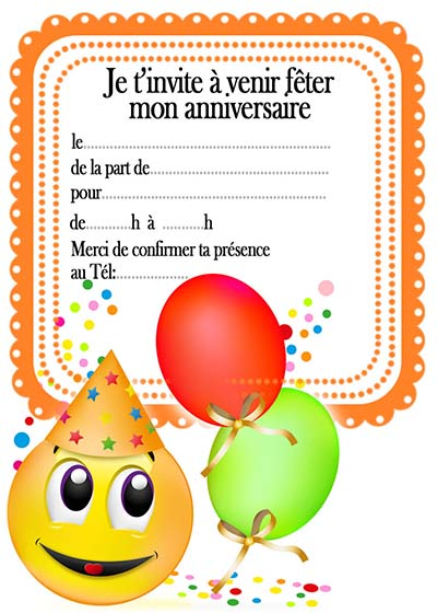carte d invitation anniversaire enfant gratuit. Black Bedroom Furniture Sets. Home Design Ideas