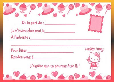 Carte D Invitation Anniversaire Gratuite A Imprimer Hello Kitty