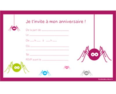 carte d invitation anniversaire gratuite pour fille. Black Bedroom Furniture Sets. Home Design Ideas