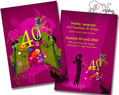 carte d invitation anniversaire surprise. Black Bedroom Furniture Sets. Home Design Ideas