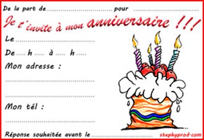 carte d invitation pour anniversaire enfant. Black Bedroom Furniture Sets. Home Design Ideas