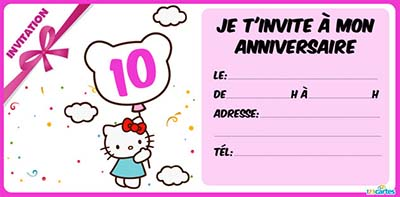 carte invitation anniversaire 10 ans. Black Bedroom Furniture Sets. Home Design Ideas