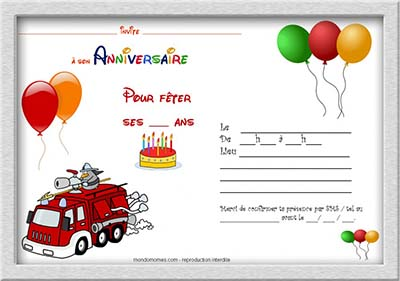 carte invitation anniversaire garcon a imprimer. Black Bedroom Furniture Sets. Home Design Ideas