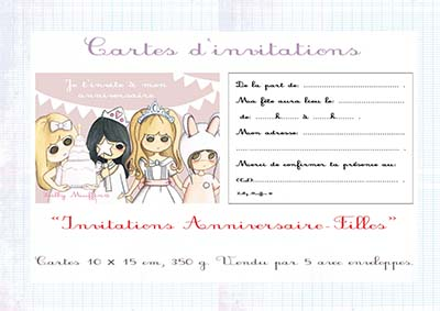 cartes d invitation anniversaire fille