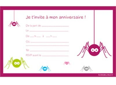 carte d invitation anniversaire pour fille gratuite a imprimer. Black Bedroom Furniture Sets. Home Design Ideas