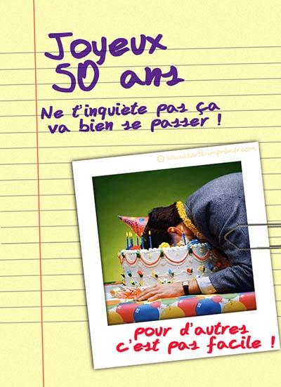 carte invitation anniversaire 50 ans gratuite a imprimer