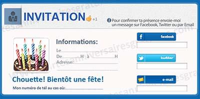 Belle Carte D'invitation Anniversaire Gratuite Pour 18 Ans UE-14