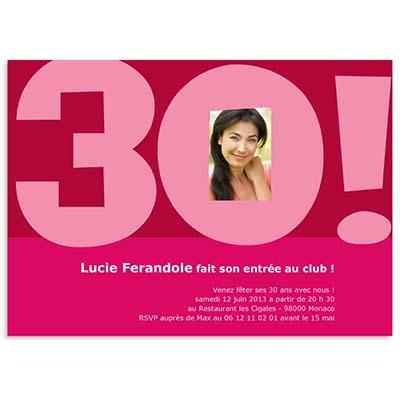 Belle carte invitation anniversaire 30 ans gratuite | OR-65