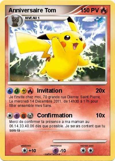 Parfait carte invitation anniversaire pokemon | JP32