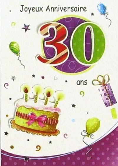 Super Carte Anniversaire 30 Ans A Imprimer Et14 Humatraffin
